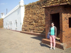 Here I am in part of the Old Fort section of the Constitution Hill prison in front of what looked like a little guard house.