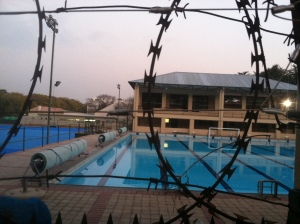 The swimming pool at a fancy high school in Joburg.