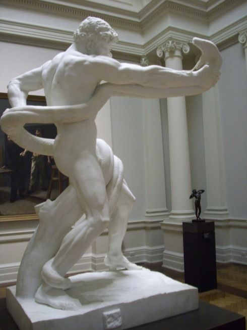 """An Athlete Wrestling with a Python"" (1888-1891) by Lord Leighton Frederic"