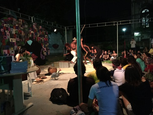 Since we can't take any pictures of the prisons, Ariel wanted you to see this photo of the first performance we saw at the Theatre of the Oppressed Conference.
