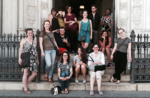 Our group in front of a historic library in central Rio de Janeiro