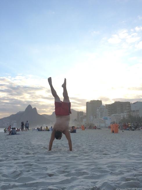 Joe's beach acrobatics