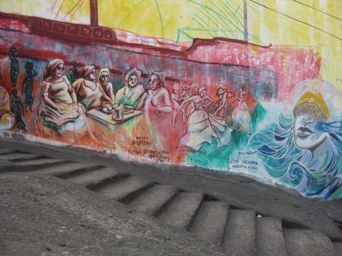 "The name of the place with the mural of the ship with African women inside was called ""pedra do sal"" or ""pedra da sal"" I can't remember exactly. It used to be a place where slaves worked, then it was a ""quilombo"" which is a settlement of freed or escaped slaves, and then it was the birthplace of Samba!"