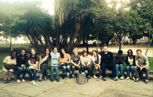 Our class of Michigan students on a bench at UniRio