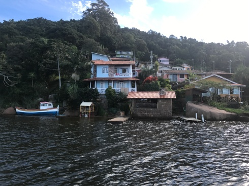 Houses on edge of water